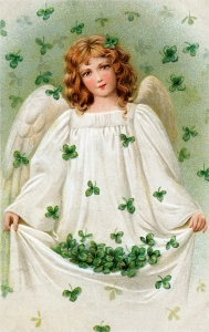 Angel with four leaf clovers